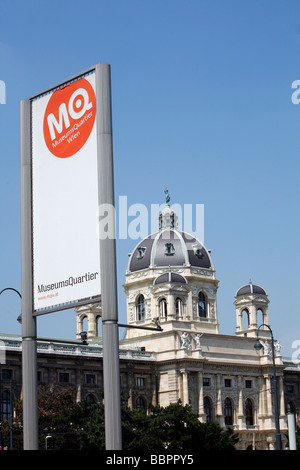MUSEUMSQUARTIER WIEN, MQ WITH THE DOME OF THE NATURHISTORISCHES MUSEUM, MUSEUM OF NATURAL HISTORY, VIENNA, AUSTRIA - Stock Photo