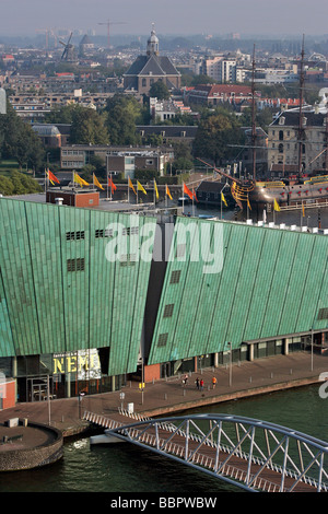 SCIENCE CENTER 'NEMO', SIMILAR TO A GREEN VESSEL, CREATED BY THE ARCHITECT RENZO PIANO, AMSTERDAM, NETHERLANDS - Stock Photo