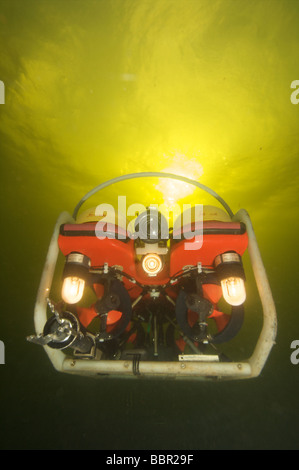 ROV or robotic underwater vechile working underwater - Stock Photo