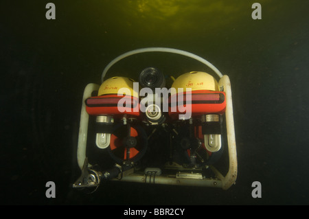 ROV or robotic underwater vechile working underwater - Stock Photo
