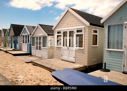 A row of large deluxe beach hut - Stock Photo