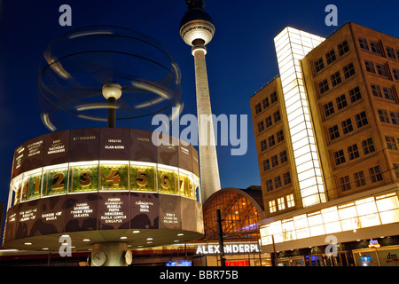 ALEXANDERPLATZ, TELEVISION TOWER, FERNSEHTURM AND URANIA WORLDTIME CLOCK, WELTZEITUHR CONCEIVED IN 1969 BY ERICH - Stock Photo