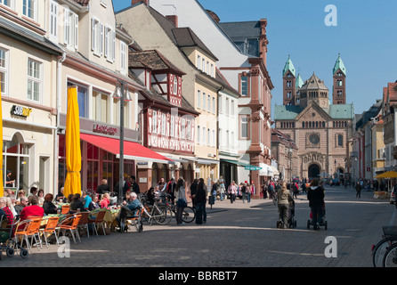 Pedestrian zone in front of Speyer Cathedral, Maximilian street, Speyer, Rhineland-Palatinate, Germany, Europe - Stock Photo
