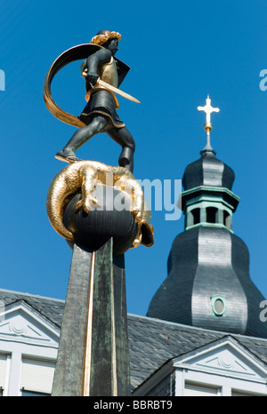St. George fountain with a statue of Saint George the dragon slayer, Speyer, Rhineland-Palatinate, Germany, Europe - Stock Photo