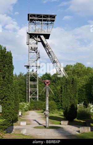 Shaft tower Teutoburgia mine, shaft 1, Herne, North Rhine-Westphalia, Germany, Europe - Stock Photo