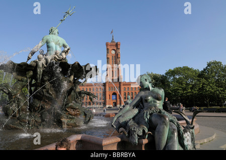 Rotes Rathaus, red town hall, with Neptunbrunnen fountain, Berlin, Germany, Europe - Stock Photo