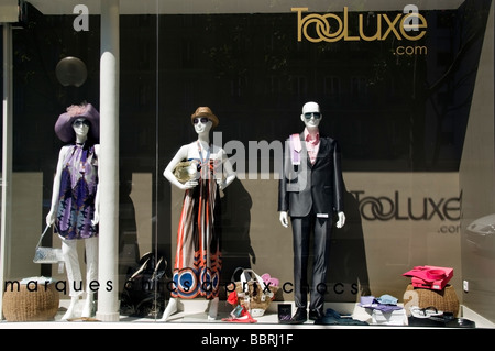 Paris France, Luxury Clothes, Shopping, French Shop Front Window Display, Outside 'Too Luxe' mannequins fashion - Stock Photo