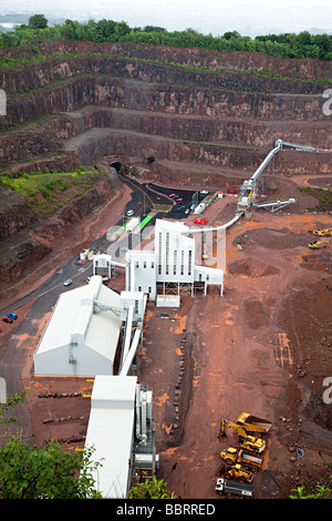 CEMEX limestone quarry with crushing plant Taffs Well Cardiff Wales UK - Stock Photo