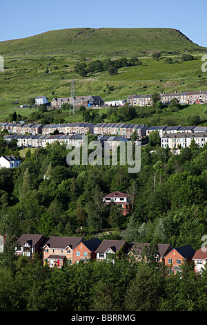 Traditional terraced and modern detached houses in a South Wales valley Ebbw Vale UK - Stock Photo