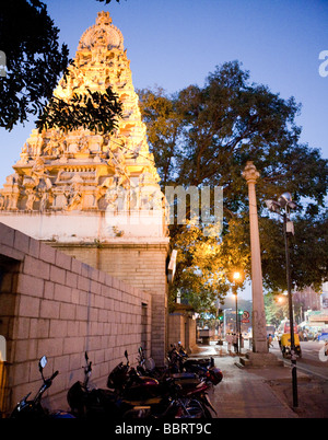 A Hindu temple At Night Bangalore Bengaluru Karnataka State India - Stock Photo