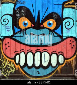 Graffiti near Regent's Canal, Hackney, London - Stock Photo