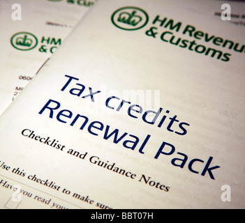 HMRC Tax Credit Renewal Application Forms - Stock Photo