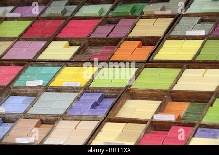 Natural soaps on sale Sunday market at Issigeac Dordogne France - Stock Photo
