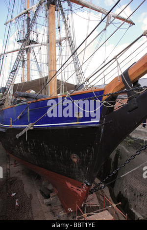 A ship in dry dock, Gloucester Quays, England - Stock Photo