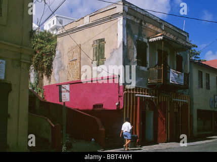 back street in Charlotte Amalie St Thomas US Virgin Islands - Stock Photo
