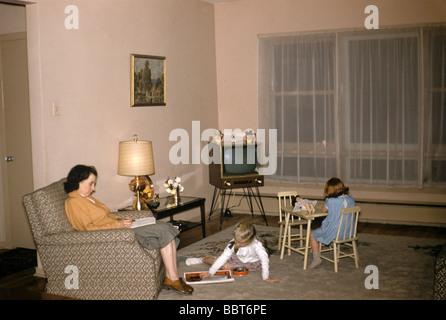 Family life at home, Canada 1956 - Stock Photo