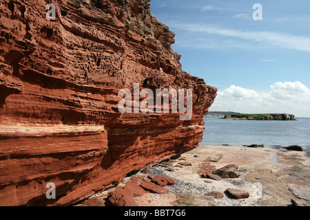 Bunter Sandstone Cliff On Hilbre Island, A Site Of Special Scientific Interest, The Wirral, Merseyside, UK - Stock Photo