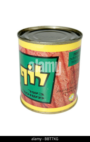 Cutout of a tin of Luf Israeli Kosher SPAM on white background - Stock Photo