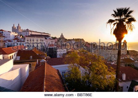 View of the Alfama district from Largo Portas do Sol, Lisbon, Portugal. - Stock Photo