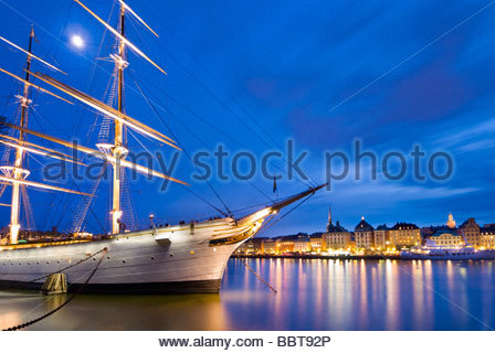The Schooner, Af Chapman, moored near the old town of Stockholm, Sweden. - Stock Photo