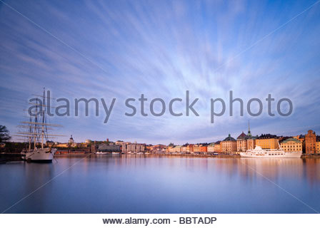 The Schooner, Af Chapman, and the old town of Stockholm, Sweden. - Stock Photo