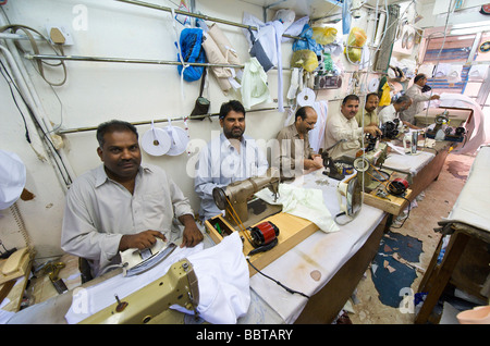 Dubai a Indian sewing shop in the old Arab town - Stock Photo