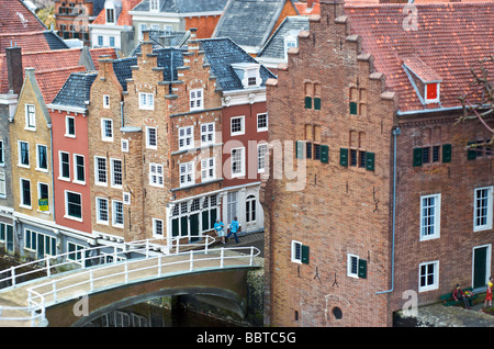 Typical Dutch historic city centre and monumental houses - Stock Photo