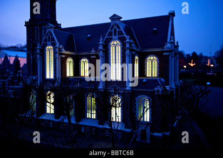 Gouda the famous stained glass windows of the St John church as replicated in Madurodam - Stock Photo