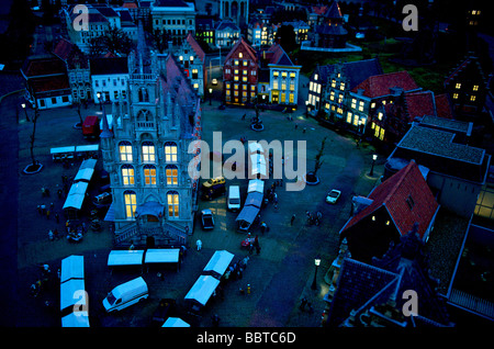 Gouda historic city centre and monumental houses as replicated in Madurodam - Stock Photo
