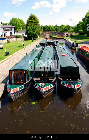 Barges in the canal basin at Llangollen, North Wales - Stock Photo