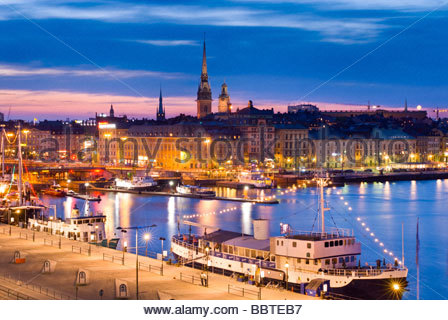 Gamla Stan, the old town of Stockholm, at night, from Katarinavägen, Sweden. - Stock Photo