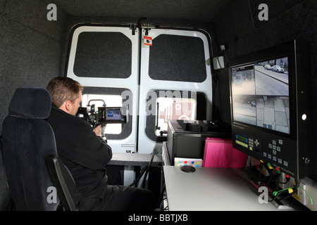 The operator's view from inside a Safety camera van in Aberdeen, Scotland, UK with traffic visible on the camera - Stock Photo