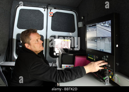 The operator's view from inside a Safety camera van in Aberdeen, Scotland, UK with traffic visible on the Commander - Stock Photo