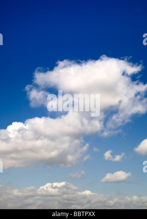 Blue sky with cumulus clouds - Stock Photo