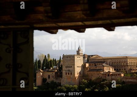 Panoramic of the Alhambra from the Mirador de San Nicolas Granada Andalusia Spain - Stock Photo