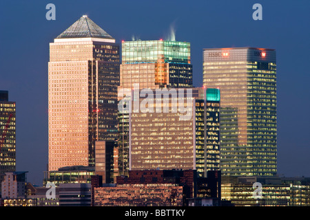 Bank buildings in the Financial centre of Canary Wharf London England United Kingdom - Stock Photo
