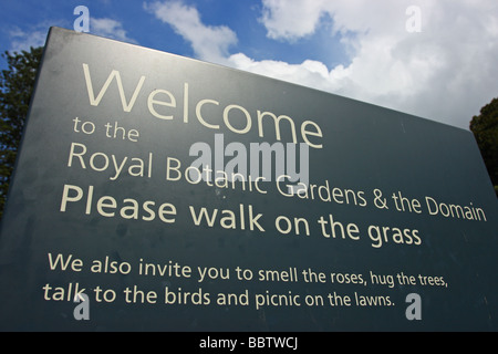 Sydney Royal Botanic Garden Welcome sign. Sydney, New South Wales. Australia - Stock Photo