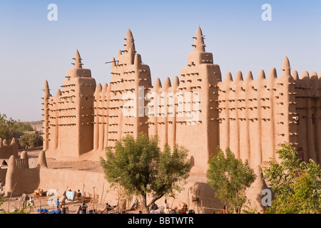 Great Mosque of Djenne, Djenne, Mopti Region, Niger Inland Delta, Mali, West Africa - Stock Photo