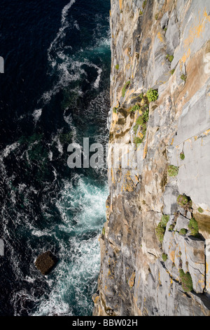 Straight down. The view from the top of the 100 meter cliffs at the fort to the crashing waves below. - Stock Photo