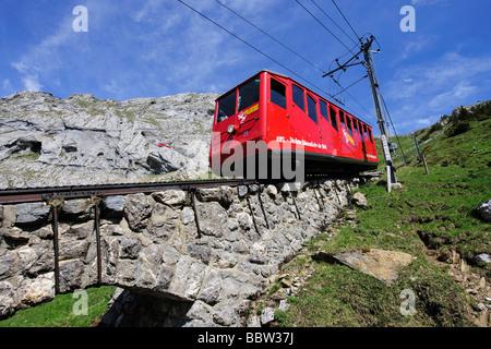 Cogwheel railway to Mount Pilatus, a recreational mountain near Lucerne, the 48% gradient making it the steepest - Stock Photo