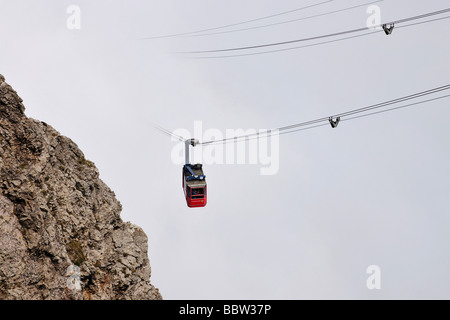 Gondola cableway to Mount Pilatus emerging from a sea of fog, Mount Pilatus, a recreational mountain at Vierwaldstaettersee, - Stock Photo