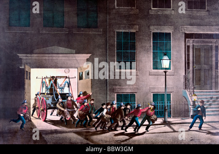 The life of a fireman: the night alarm--'start her lively boys.' circa 1850 - Stock Photo