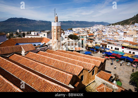View over Grand Mosque, Chefchaouen, Morocco, North Africa - Stock Photo