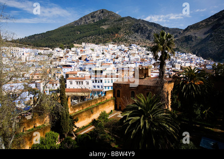 View over Chefchaouen from the Kasbah, Morocco, North Africa - Stock Photo