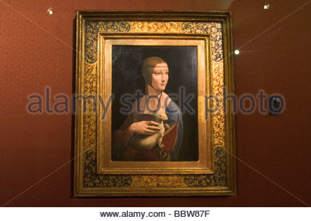 europe, poland, krakow, museum czartoryskich; lady with an ermine, leonardo da vinci - Stock Photo
