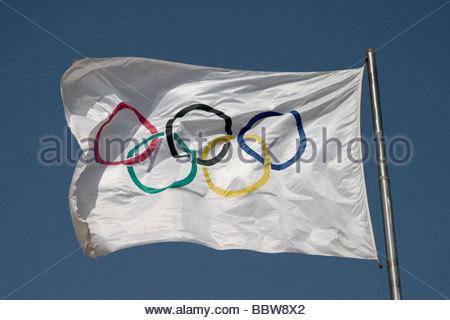 europe, greece, athens, stadium, olimpic flag - Stock Photo