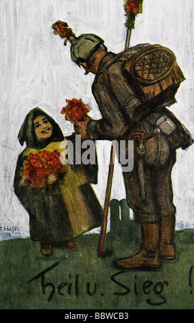 events, First World War/WWI, propaganda, Germany, Bavarian soldier and Muenchner Kindl, postcard, 1915, 'Heil und - Stock Photo