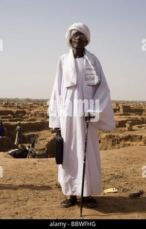 Portrait of Hassan Abdullah Bakhour, Chief of the 4 sq km Abu Shouk refugee camp in Al Fasher, North Darfur, Sudan - Stock Photo