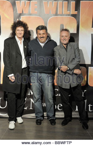 brian may, claudio trotta, roger taylor, milano 2009, we will rock you musical presentation - Stock Photo
