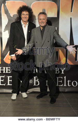 brian may, roger taylor, milano 2009, we will rock you musical presentation - Stock Photo